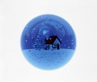 クリスマスの家 雪景色