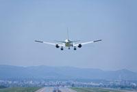 旭川空港に着陸する旅客機