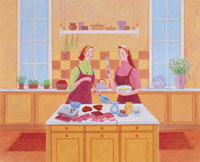 料理をする女性 イラスト 10173002859| 写真素材・ストックフォト・画像・イラスト素材|アマナイメージズ