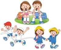 小学校の登校と遠足と運動会