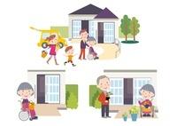 バリアフリー住宅に暮らす3世代家族と車いすの高齢者