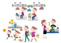 自転車やエコバッグで省エネする家族