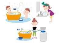 風呂の残り湯の利用で省エネする家族 10173003114| 写真素材・ストックフォト・画像・イラスト素材|アマナイメージズ
