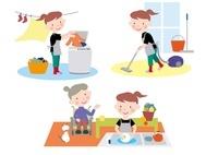 介護高齢者の掃除と洗濯と食器洗いの手伝い
