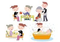 デイケアで介護士から食事と入浴の介助を受ける高齢者