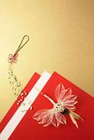 紅白の紙と鶴の水引