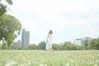 草原の中歩く若い女性 10179008687| 写真素材・ストックフォト・画像・イラスト素材|アマナイメージズ