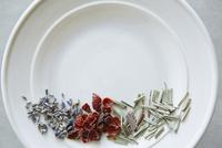 皿と3種類の茶葉