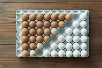 卵パックに並べられた2色の卵 10179010330| 写真素材・ストックフォト・画像・イラスト素材|アマナイメージズ