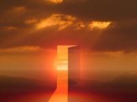 朝陽が差し込むドア