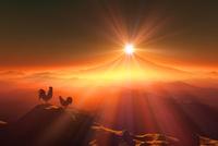 富士山の日の出とニワトリ