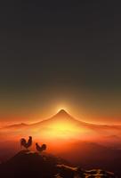 富士山の日の出とニワトリ 10185002228| 写真素材・ストックフォト・画像・イラスト素材|アマナイメージズ