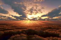 日の出と雲海 10185002284  写真素材・ストックフォト・画像・イラスト素材 アマナイメージズ