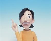 人差し指を立てる女性のクラフト