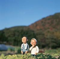 畑に立つ老夫婦のクラフト