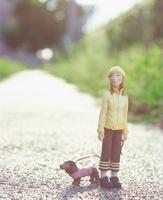 犬の散歩をする女性のクラフト