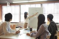 シェアオフィスでミーティングをする私服の男女ビジネスマン4人 10186004038| 写真素材・ストックフォト・画像・イラスト素材|アマナイメージズ