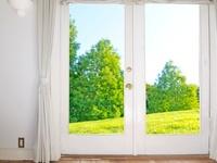 窓から見える芝生と緑の木々