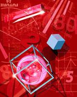 数字や球体のアブストラクト(赤)  CG