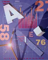 数字やアルファベットやグラフ(紫)  CG