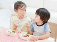 お弁当を食べる女の子と男の子の姉弟