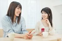携帯電話を持ち会話を楽しむ2人の20代女性