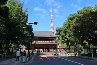 三縁山広度院 増上寺 三解脱門(三門)と東京タワー