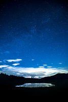 霧ヶ峰高原八島ヶ原湿原星座映す八島ヶ池と東の夏の夜空