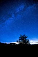 霧ヶ峰高原より車山・蓼科山方面夏の満天の星空