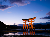 宮島 夕暮れの厳島神社の大鳥居