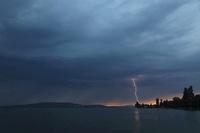 sunset, lightning