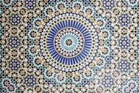 Kasbah Telouet; wall, tiles, ornaments