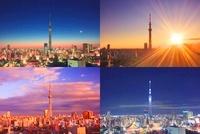 浅草の街並と東京スカイツリーの朝夕夜 10247001788| 写真素材・ストックフォト・画像・イラスト素材|アマナイメージズ