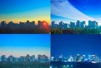 丸の内の高層ビル群と東京スカイツリーの一日 10247001921| 写真素材・ストックフォト・画像・イラスト素材|アマナイメージズ