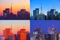 丸の内の高層ビル群と東京スカイツリーの一日 10247001927| 写真素材・ストックフォト・画像・イラスト素材|アマナイメージズ