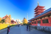 浅草寺の五重塔と東京スカイツリーと写真を撮影する観光客 10247001958| 写真素材・ストックフォト・画像・イラスト素材|アマナイメージズ