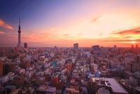 朝日と流れる雲と東京スカイツリーと下町両国の街並 10247002070| 写真素材・ストックフォト・画像・イラスト素材|アマナイメージズ
