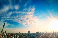 朝日と流れる雲と東京スカイツリーと下町両国の街並 10247002071| 写真素材・ストックフォト・画像・イラスト素材|アマナイメージズ