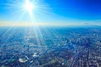 新宿のビル群と太陽の光芒