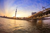 東京スカイツリーと朝日と東武鉄道の電車 10247003328| 写真素材・ストックフォト・画像・イラスト素材|アマナイメージズ