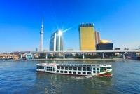 東京スカイツリーとビルに反射する太陽と遊覧船 10247003329| 写真素材・ストックフォト・画像・イラスト素材|アマナイメージズ
