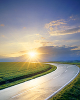 雨上がりの道路と朝日と小麦畑