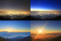 松本市街と八ケ岳と富士山などの山並みと雲海の星空から朝日