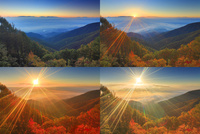 八ケ岳と南アルプスと富士山などの山並みと雲海と昇る朝日