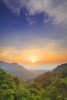 新緑の原生林と明星岳と朝日