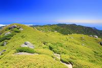 安房岳と投石岳と黒味岳などの山並みと登山道 10247009249| 写真素材・ストックフォト・画像・イラスト素材|アマナイメージズ