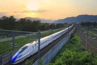 北陸新幹線E7系と夕日