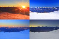 千畳敷カールの雪原と南アルプスと富士山などの山並みの一日