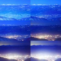 南アルプスと富士山と駒ヶ根市街の夕夜景
