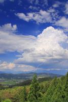 雷と烏帽子岳と浅間山などの山並みと塩田平